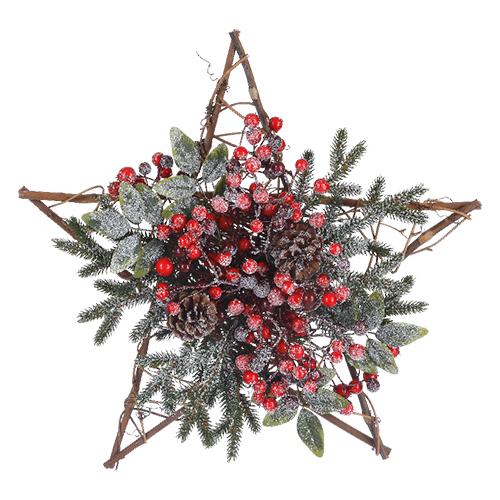 Декор Звезда с ягодами заснеж  d45cм