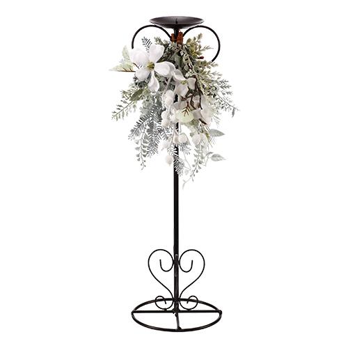 Подсвечник декоративный металл с белыми цветами 56x30cм