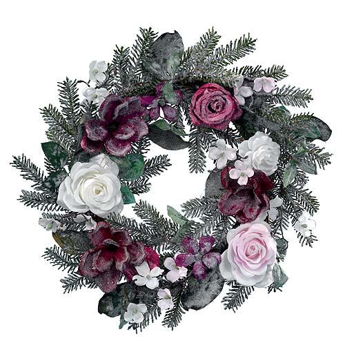 Венок еловый  d40см заснеженный с цветами