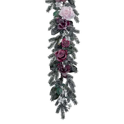 Гирлянда еловая  1,8м заснеженная с цветами
