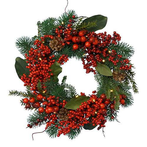 Венок еловый  d40см зеленый с красными ягодами