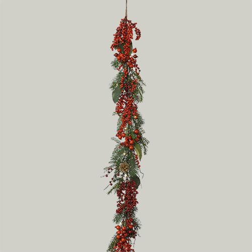 Гирлянда декоративная 1,8м с красными ягодами и шишками