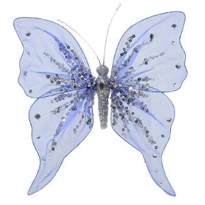 Декор Бабочка из органзы 20x20см синяя с блестками Ka