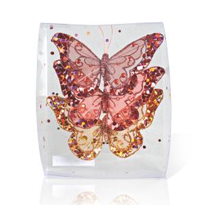Декор Бабочка из органзы  11х9см в ассортименте с блестками  3шт/уп