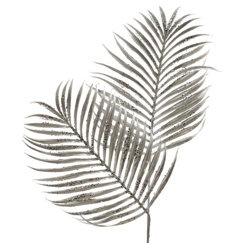 Декор Веточка Пальмы серебристая 80см