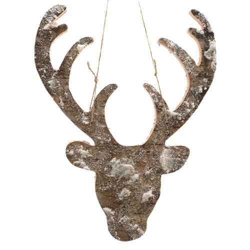 Декор Голова оленя из коры заснеженная 26x34см