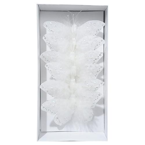 Декор Бабочка  8x5cм белая с блеском 6шт/уп