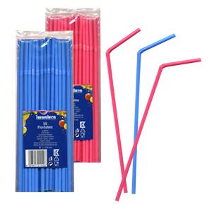 Трубочка d0,5x24см голубая/розовая 50шт/уп Kg