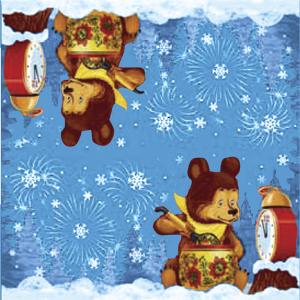Салфетки  Новогодние голубые   Мишка   33х33см 20шт/уп