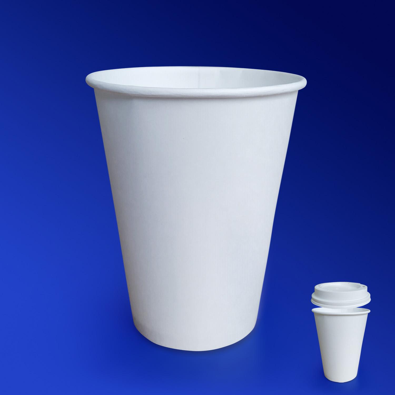 Стакан бумажный 350мл для горячих напитков белый  50шт/уп