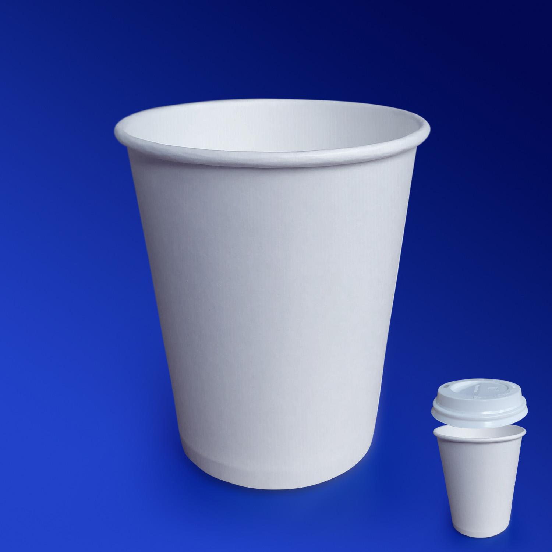 Стакан бумажный 250мл для горячих напитков белый  50 шт/уп