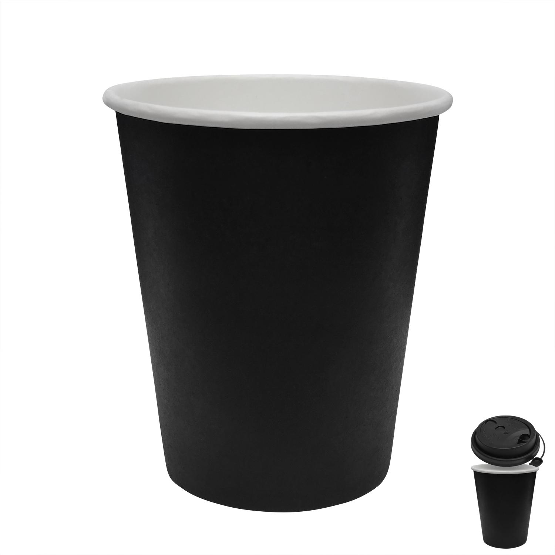Стакан бумажный 250мл для горячих напитков черный  50 шт/уп