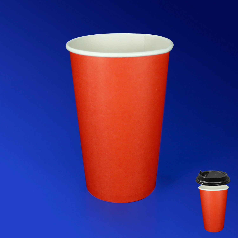 Стакан бумажный 400мл для горячих напитков красный  50шт/уп