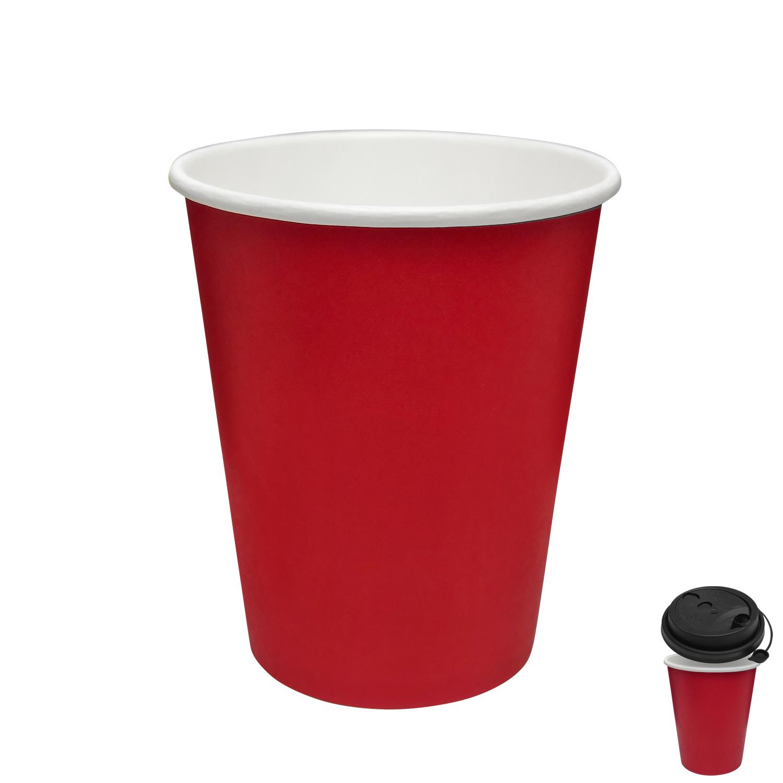 Стакан бумажный 250мл для горячих напитков красный  50 шт/уп