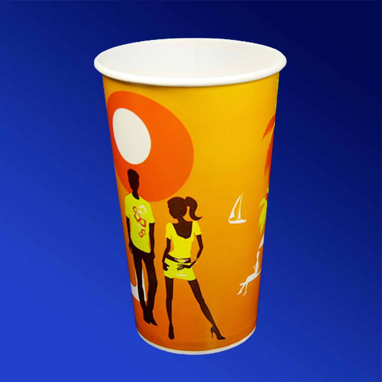 Стакан бумажный 400мл для холодных напитков Пляж 50 шт/уп