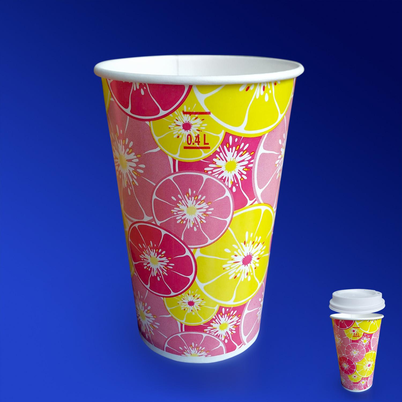 Стакан бумажный 400-500мл для холодных напитков  50 шт/уп  Цитрус красный