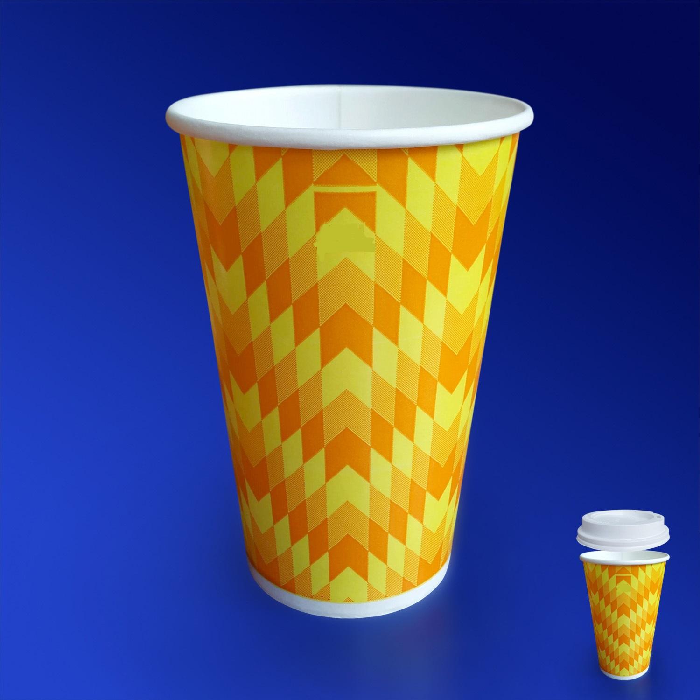 Стакан бумажный 400-500мл для холодных напитков  50 шт/уп  Зиг-Заг