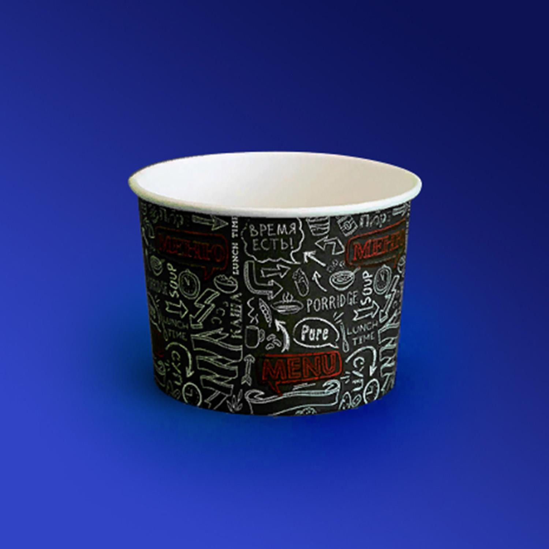 Креманка бумажная 250мл Меню для горячего