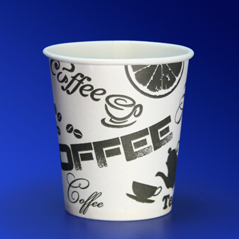 Стакан бумажный 185мл для горячих напитков  60 шт/уп   Черный кофе d 7 3