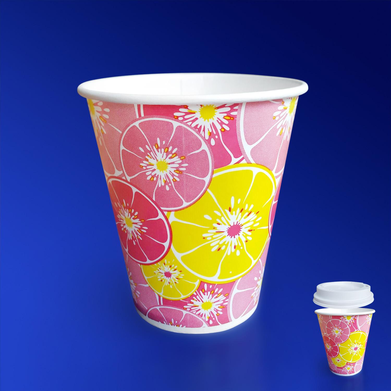 Стакан бумажный 300мл для холодных напитков  50 шт/уп Цитрус красный