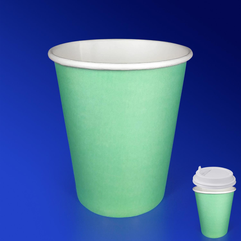 Стакан бумажный 250мл для горячих напитков мятный  50 шт/уп