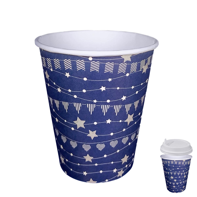 Стакан бумажный 250мл для горячих напитков празничный синий  50 шт/уп