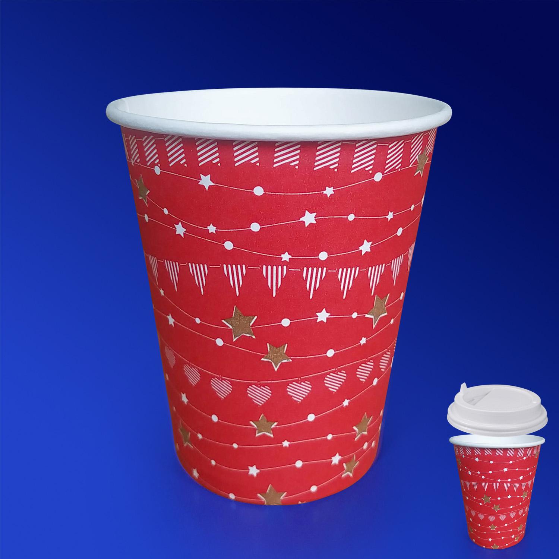 Стакан бумажный 250мл для горячих напитков празничный красный  50 шт/уп
