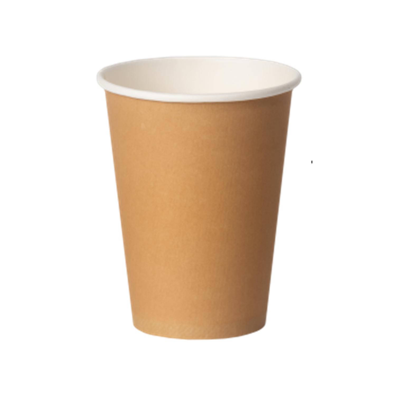 Стакан бумажный 350мл для горячих напитков крафт  50шт/уп
