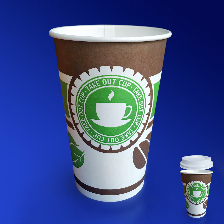Стакан бумажный 400мл для горячих напитков  50 шт/уп    Чай/Кофе
