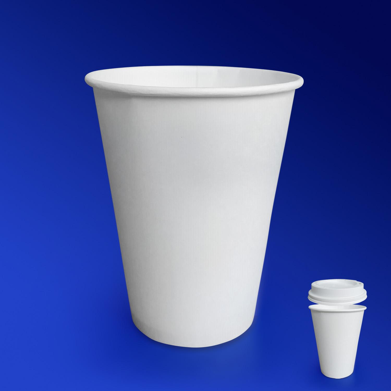 Стакан бумажный 300мл для горячих напитков белый  50 шт/уп