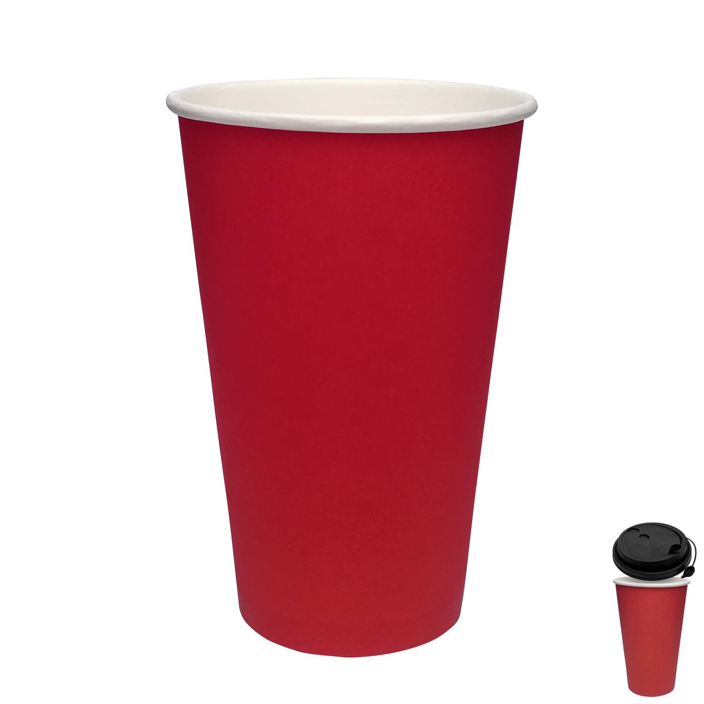 Стакан бумажный 400мл для горячих напитков красный  50 шт/уп