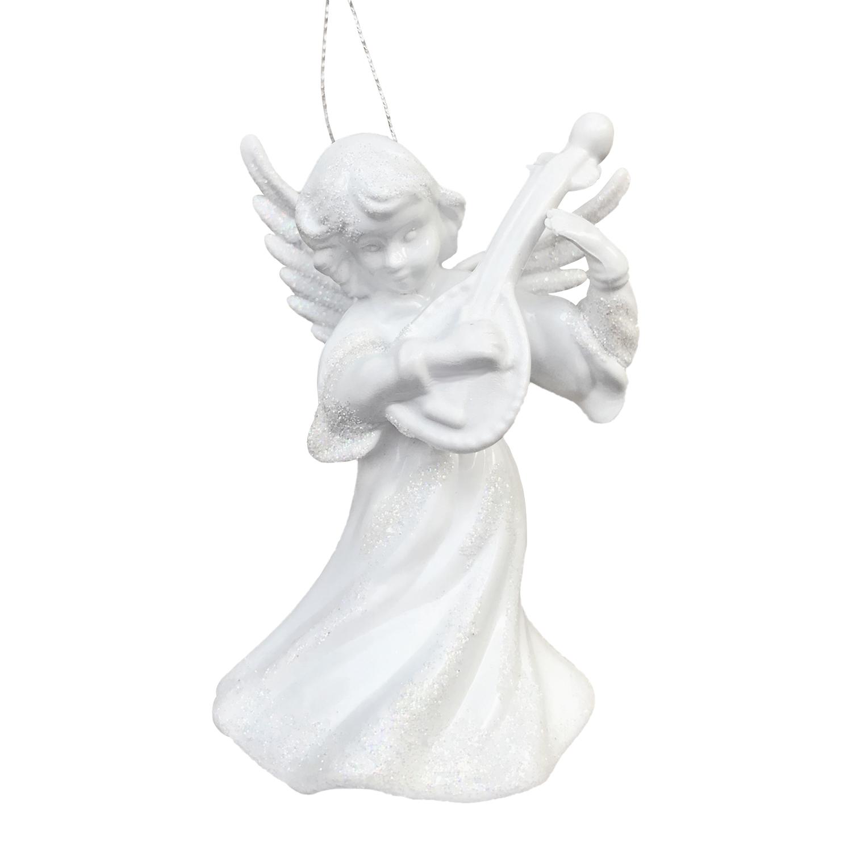 Декор Ангел с бандурой объемный белый с радужным блеском 9,5см