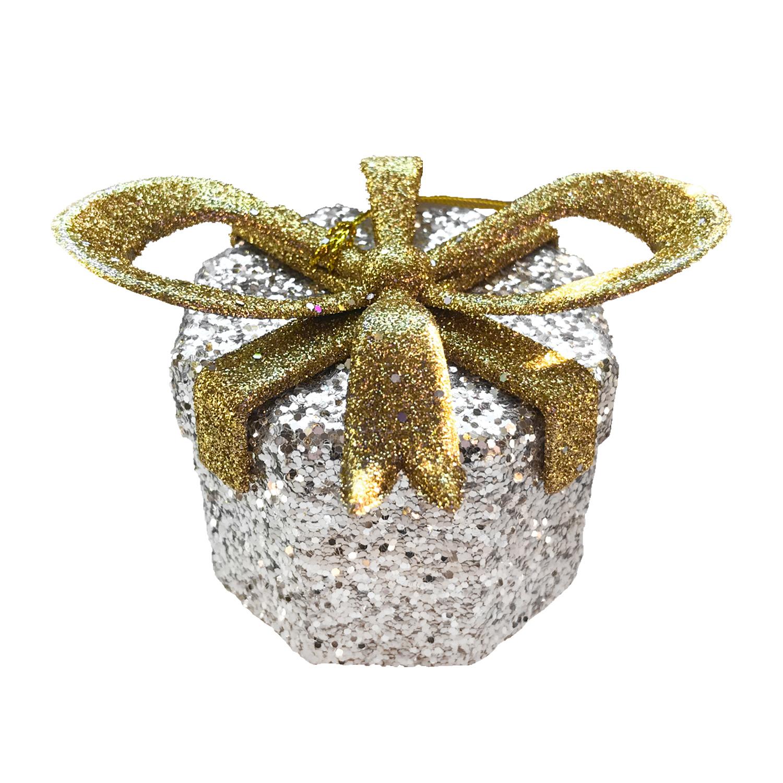 Декор Коробочка Сюрприз серебристая с золотым бантом  5-угольная 10х6х7см