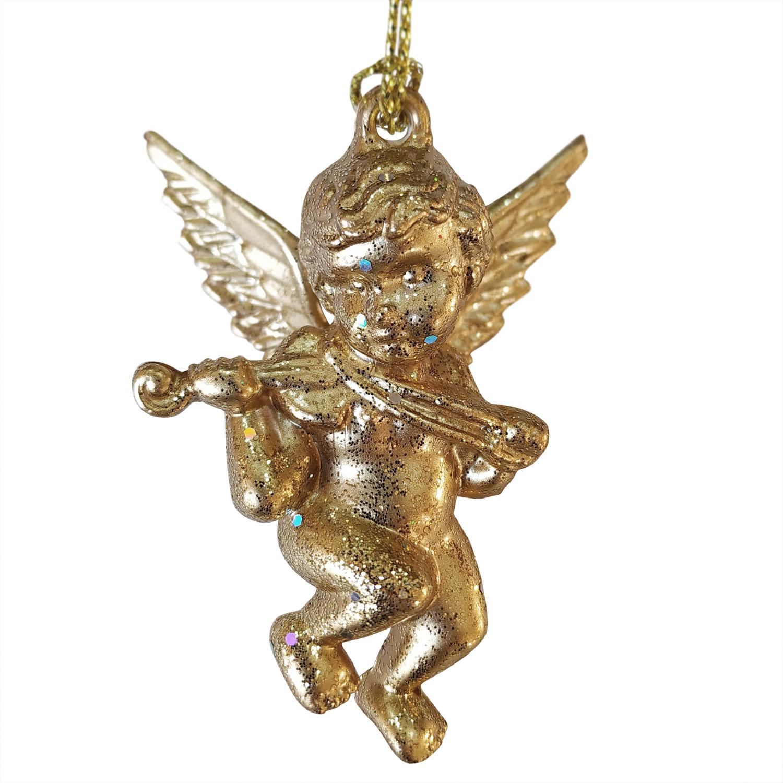 Декор Ангелочек маленький золотистый с блеском