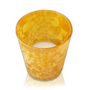 Свечи чайные в оранж  стеклянном подсвечнике  d6,4 h6,5