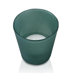 Свечи чайные в зеленом стеклянном подсвечнике d6,4 h6,5