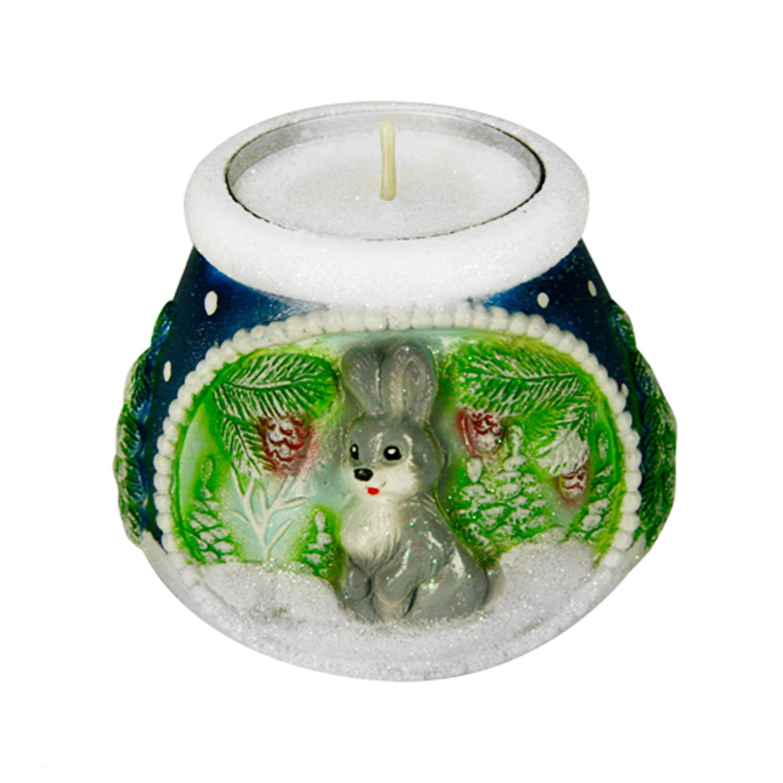 Подсвечник горшочек зайчик со свечой