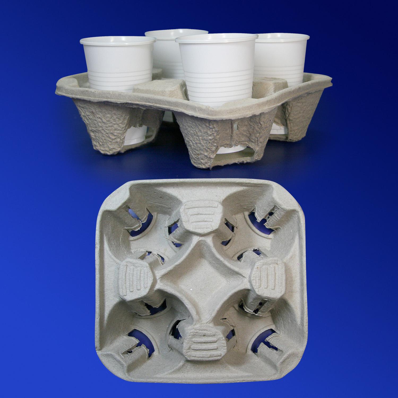 Держатель для стаканов 180-350мл на 4шт крафт 200х200х45мм 130шт/уп