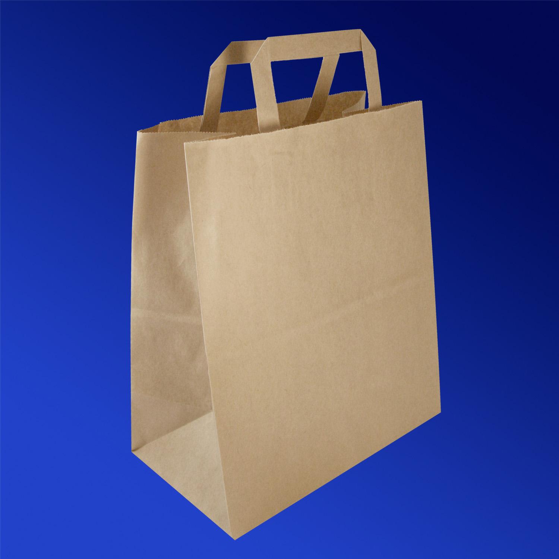 Пакет-сумка бумажная прочная 28х24+14см крафт