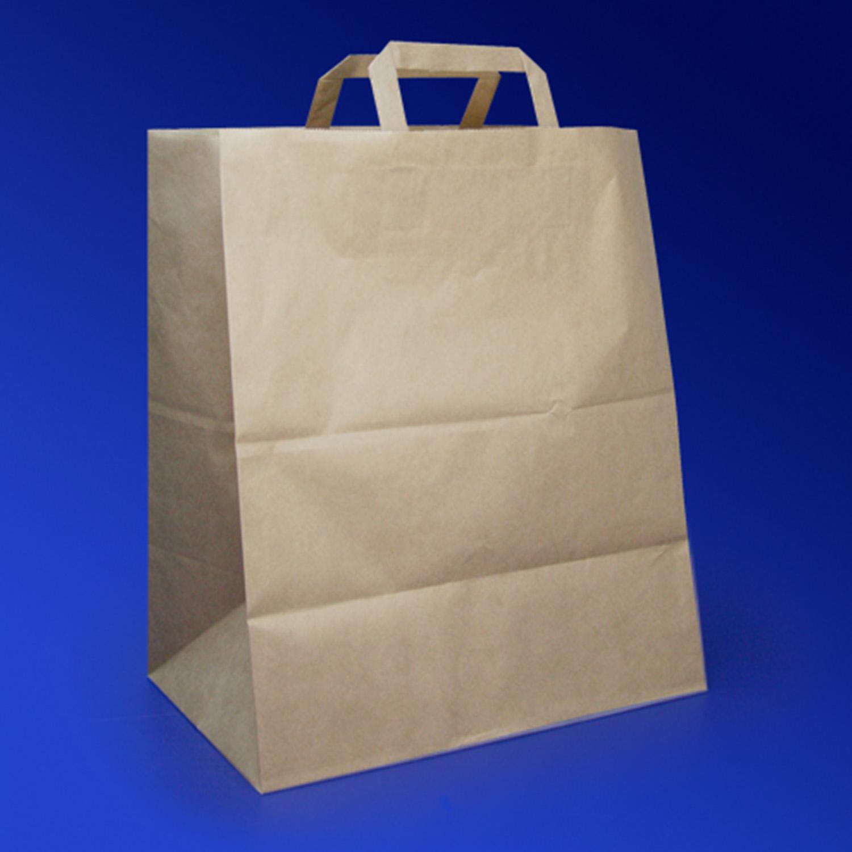 Пакет-сумка бумажная прочная 43х32+17см крафт