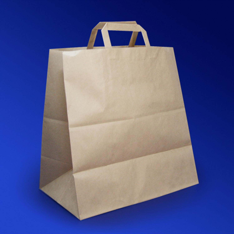 Пакет-сумка бумажная прочная 37х32+20см крафт
