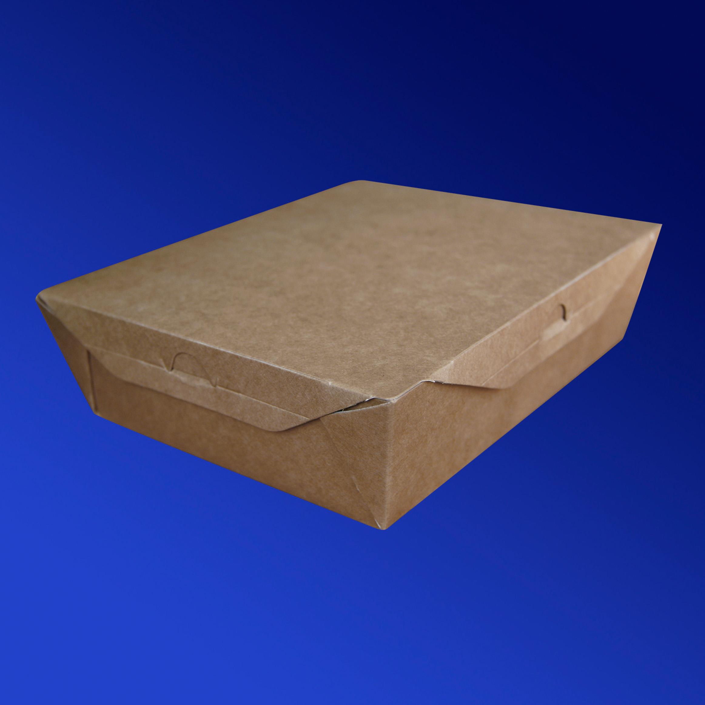 Ланч-бокс крафт/ламин 19х15х5см 1100мл с крышкой ECO LUNCH 1100