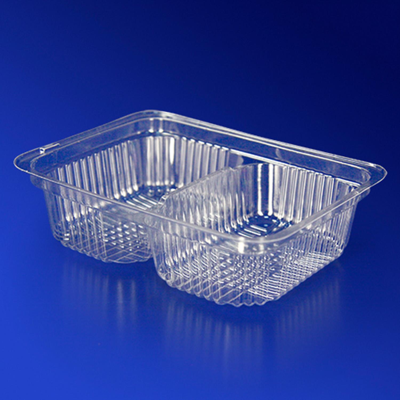 Контейнер пластиковый на  2 секции 65+65мл прозрачный 4,5+4,5х6,9х2,2см 1000 штук в упаковке