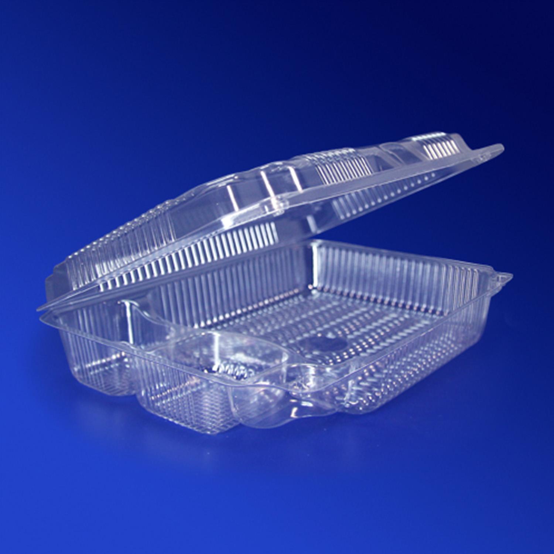 Контейнер пластиковый на  4 секции 2000мл прозрачный с нераздельной крышкой 22,0х15,5х6,0см 250 штук в коробке