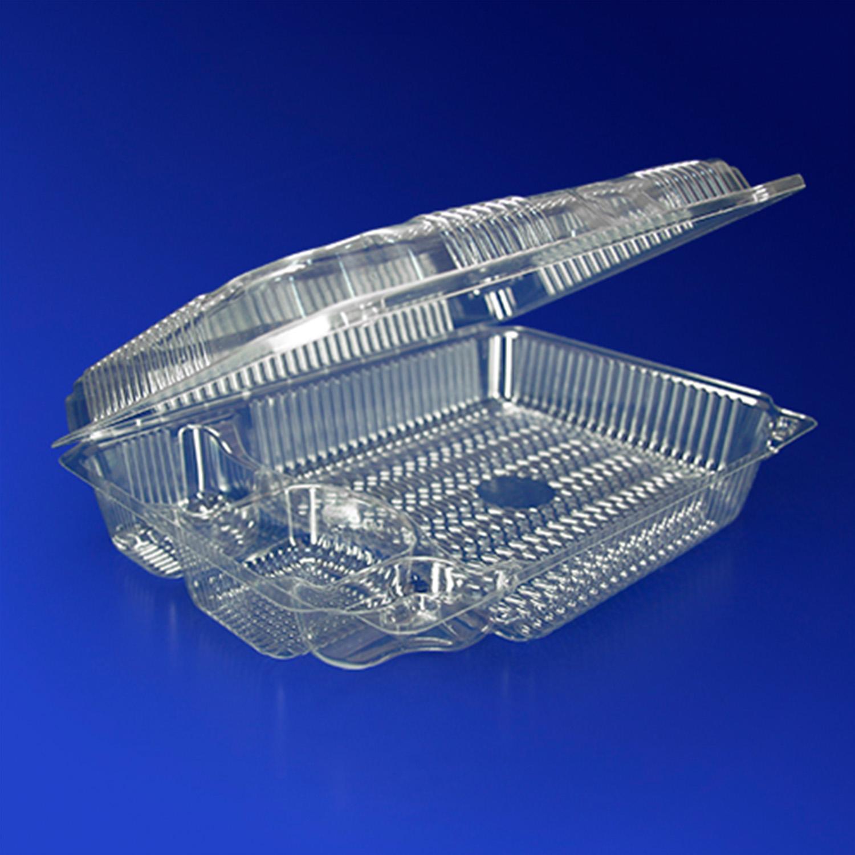 Контейнер пластиковый на  4 секции 2000мл прозрачный с нераздельной крышкой 22,0х15,5х6,0см 400 штук в коробке