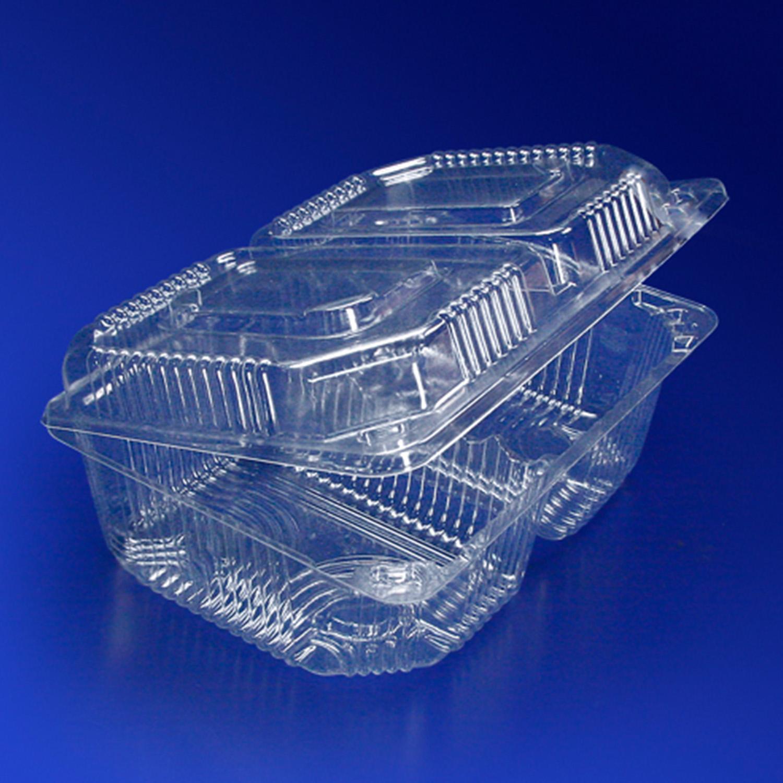 Контейнер пластиковый на  2 секции 600+600мл прозрачный с нераздельной крышкой 18,8х13,8х7,2см 350 штук в упаковке