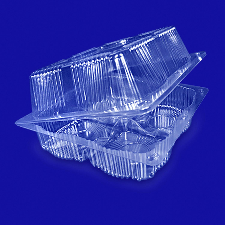 Контейнер пластиковый на  4 секции 3000мл прозрачный с нераздельной крышкой
