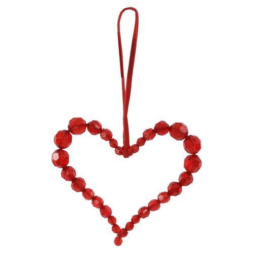 Декор Сердце из бусин красное 9см