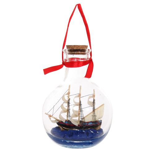 Декор Корабль в бутылке 11см