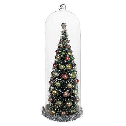 Декор Купол стеклянный с елкой 21см
